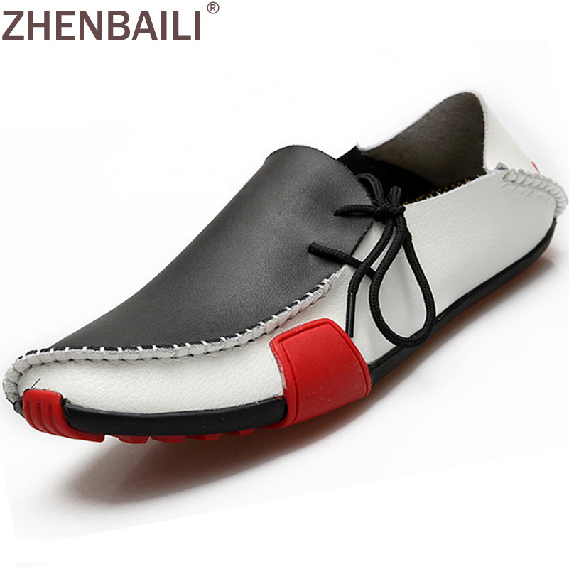 Men Shoes Genuine Leather Driving Moccasins Mens Casual Shoes Boat Loafers Breathable Flats Splicing Lazy Shoes Plus Size handmade men flats shoes plus size loafers moccasins genuine leather mens casual driving shoes soft breathable comfortable flats