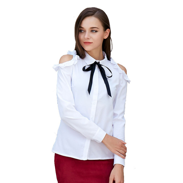 001c2c9fdab4c7 Womens Tops and Blouses 2018 Off Shoulder Bow Butterfly Long Sleeve Shirts  White Blouses Turn-down Collar Bare Shoulder Blouse