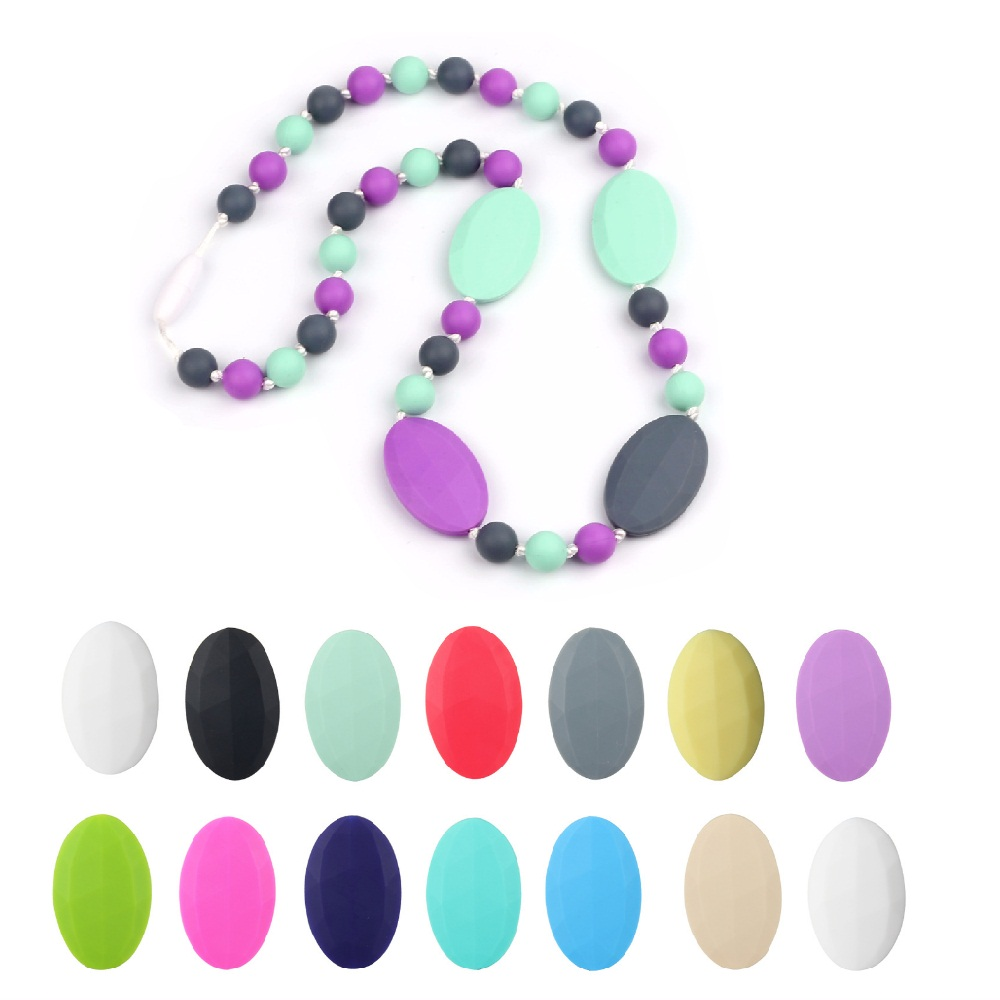 TYRY.HU Flat Oval Beads Silicone Teether 10 Pieces/lot Silicone Teething Beads For Necklace DIY Pacifier Chain Baby Shower Toys