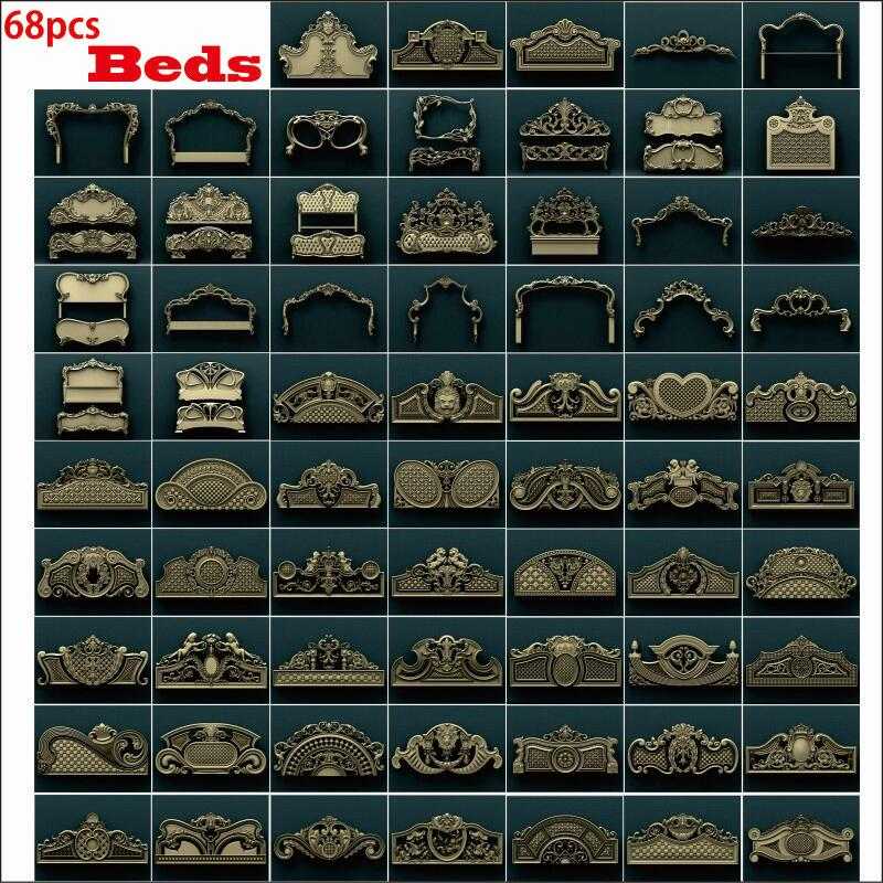 68pcs bed 3d STL Model Relief for CNC Router Aspire Artcam Beds Set