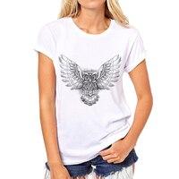 新ブランド漫画21色tシャツホワイト女性t旗フクロウかわいいカジュアルトップスレディース熱い販売tシャツ39W-2 #