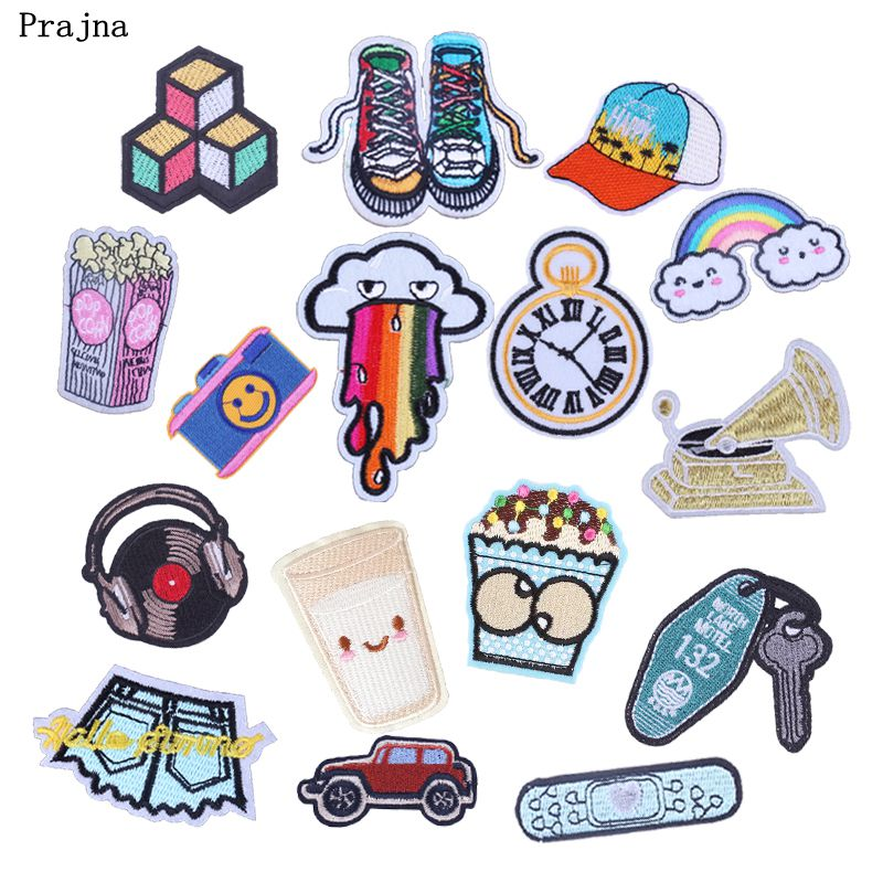 Prajna Applique Fries With Popcorn Embroidery Patches Jeans Shorts Rainbow Emo Carmera Iron On Patchwork For Baby Clothing DIY