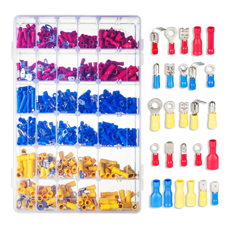 ФОТО 720pcs Assorted Female/ Male Insulated Terminals Assortment Kit Electrical Crimp Connector Spade Ring Set with Storage Box