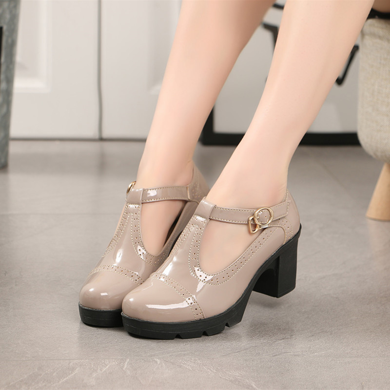 Women Pumps Platform High Heels Patent Leather High-heeled Round Toe Buckle T-strap Black Heels Sexy Mary Jane Shoes 2019 Spring