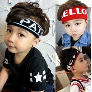 Image 1 - Enfants en cours dexécution sport bandeau Large rayure lettres grand bandeau élastique enfant adulte sueur bandes de cheveux chapeaux accessoires de cheveux