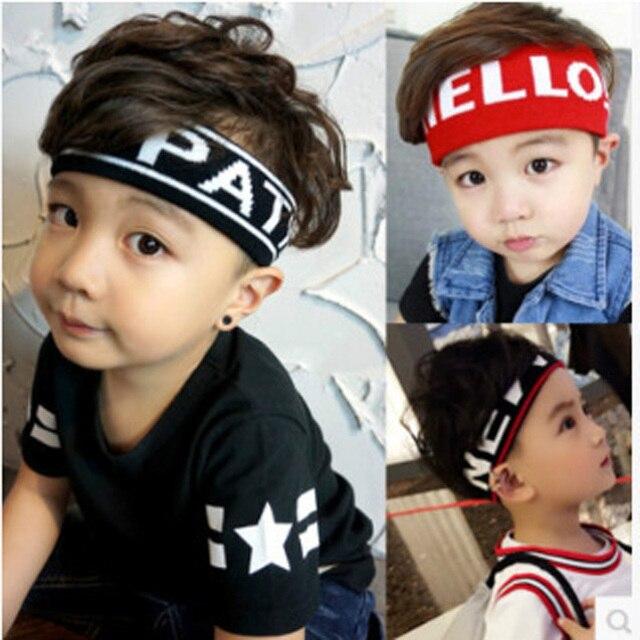 Enfants en cours dexécution sport bandeau Large rayure lettres grand bandeau élastique enfant adulte sueur bandes de cheveux chapeaux accessoires de cheveux