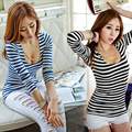2016 brand spring summer fashion new loose Slim cut stripe sexy 3D tee shirt embroidered with sequins Girl tee leisure top code