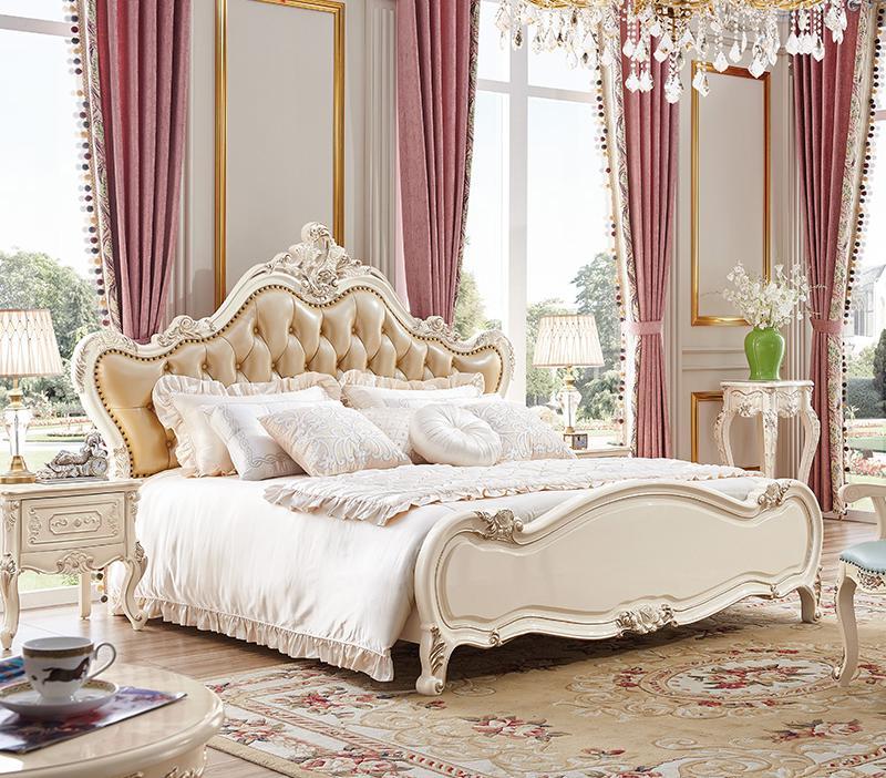 high quality elegant bedroom sets 3 pcs in 1 set white big wooden bed