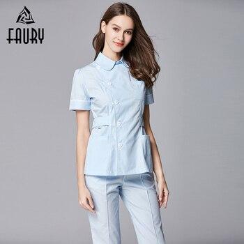 Dental Clinic Female Nurse Short Sleeve Lapel Collar Adjustable Waist Overalls Dentist Plastic Surgery Hospital Work Uniforms