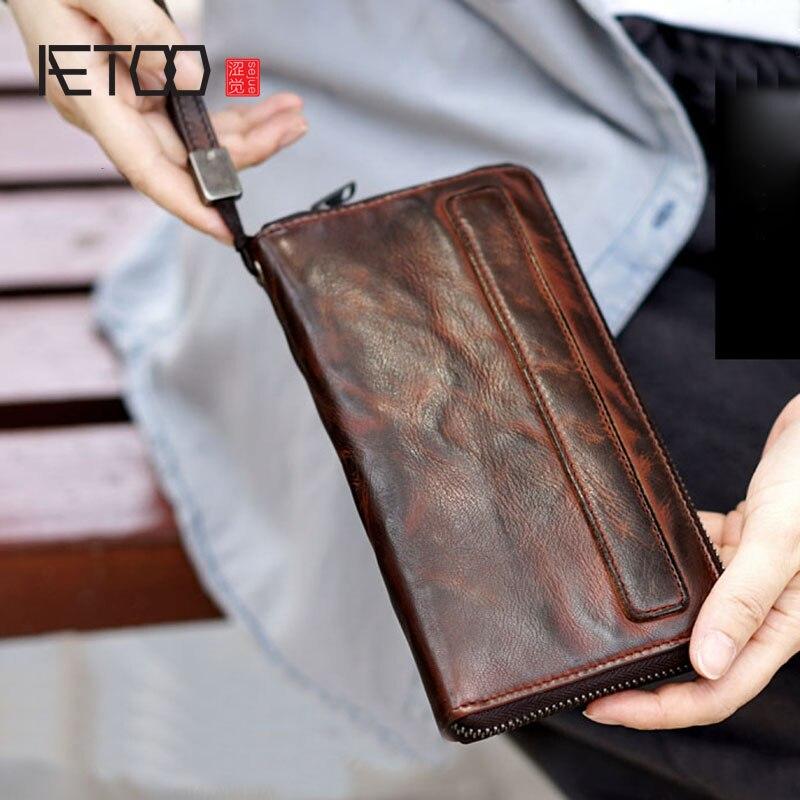 AETOO старый и старый ручной работы мужчины и женщины носить длинный, большой емкости овчины кожаный бумажник Мобильный телефон сумка