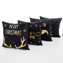 Black Soft Fabric Gold Printed Merry Christmas Pillow Case Home Party Decoration 45*45cm Pillowcase