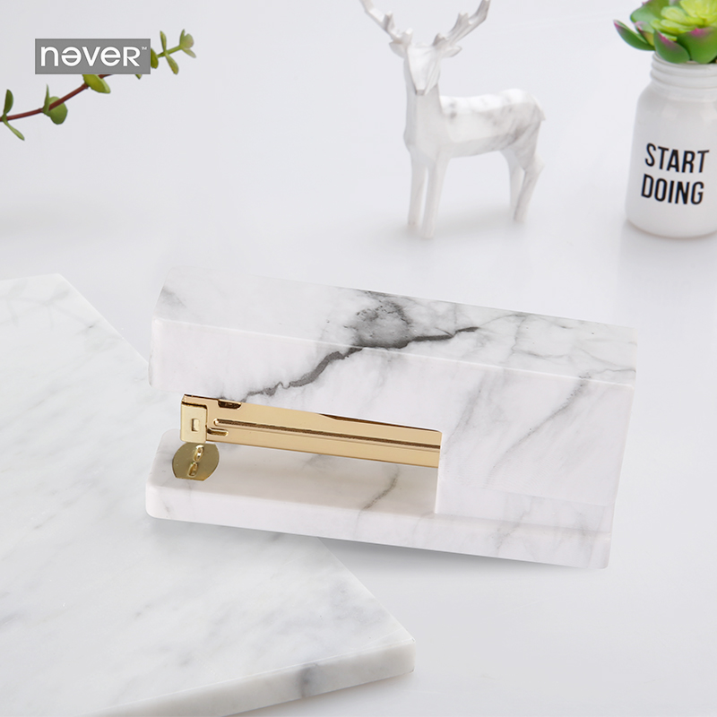 Never Marble Series Manual Stapler Fashion Gold Metal Stapler Trend Business Office Accessories School Supplies Stationery Store free shipping deli 0451 candy color stitching machine set mini stapler belt clip staples attached manual mini stapler