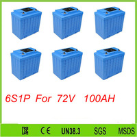 6pcs 6S1P 12V 100ah Long Cycle Life Rechargeable solar UPS Battery Pack LiFePO4 Lithium ion 12V 100Ah For 72V 100Ah battery pack