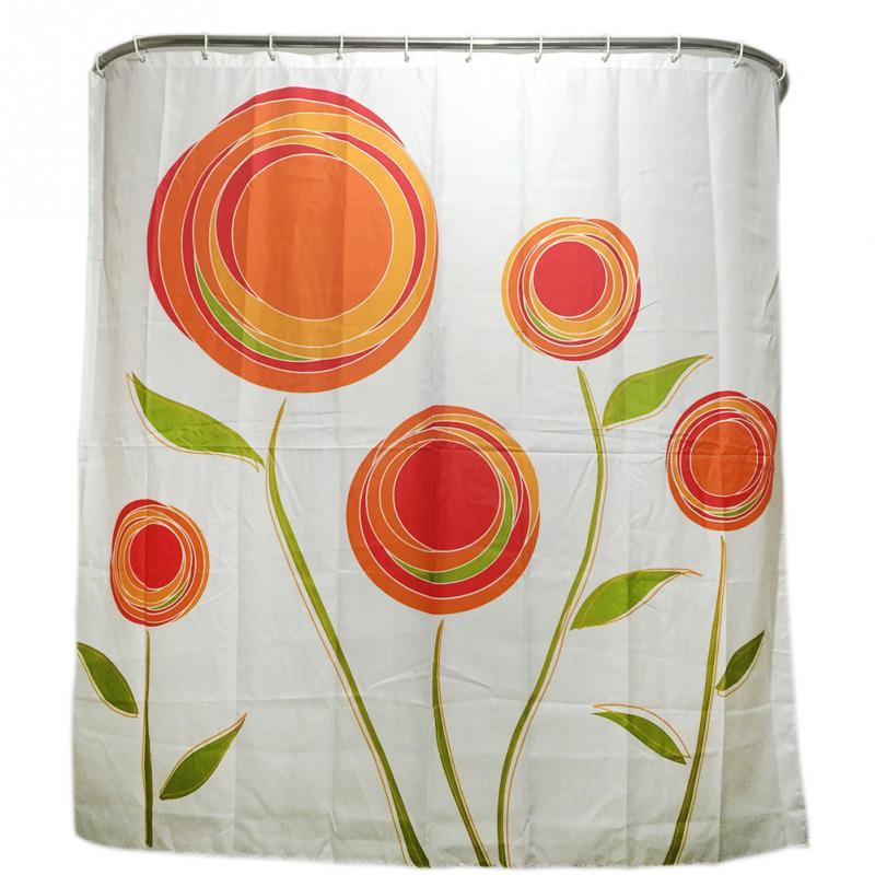 Orange Flower Family Bathroom Shower Curtain Simple Polyester 12pcs Ring Pull