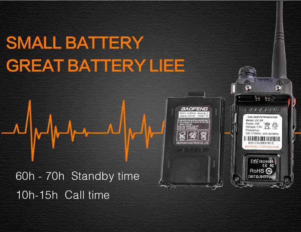 2Pcs BaoFeng UV-5R Walkie Talkie VHFUHF136-174Mhz&400-520Mhz Dual Band Two way radio Baofeng uv 5r Portable Walkie talkie uv5r (6)