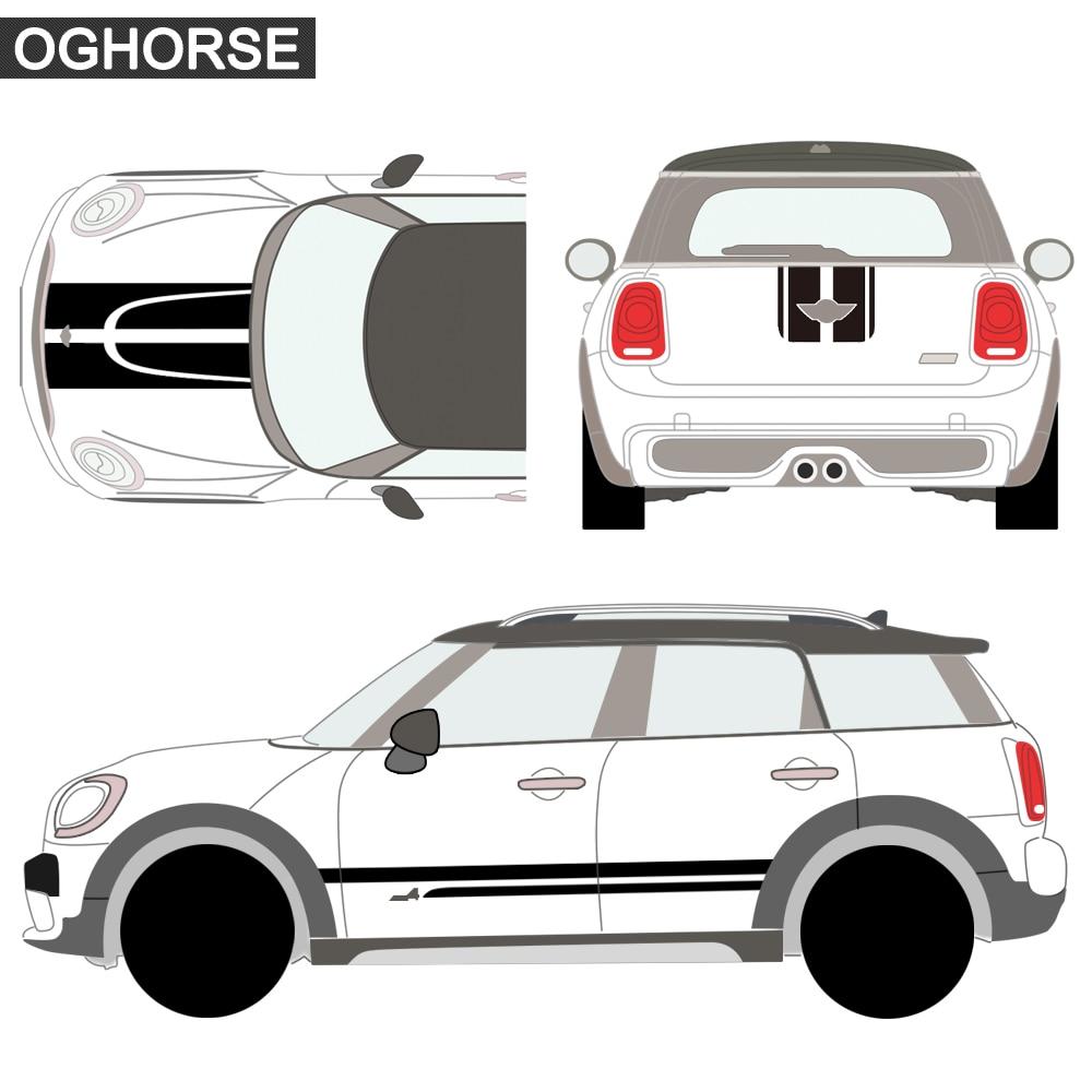 Car Styling Side Racing Stripes Hood Rear Engine Cover Trunk Body Kit - Ավտոմեքենայի արտաքին պարագաներ - Լուսանկար 3