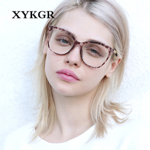 XYKGR fashion new women's optical computer trend glasses frame retro cat eye metal acetate flat mirror men and women glasses цена