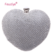 Fawziya Strass Garras Noite de Embreagem Coração de Diamante da Forma Do Coração Das Senhoras Na Moda(China (Mainland))
