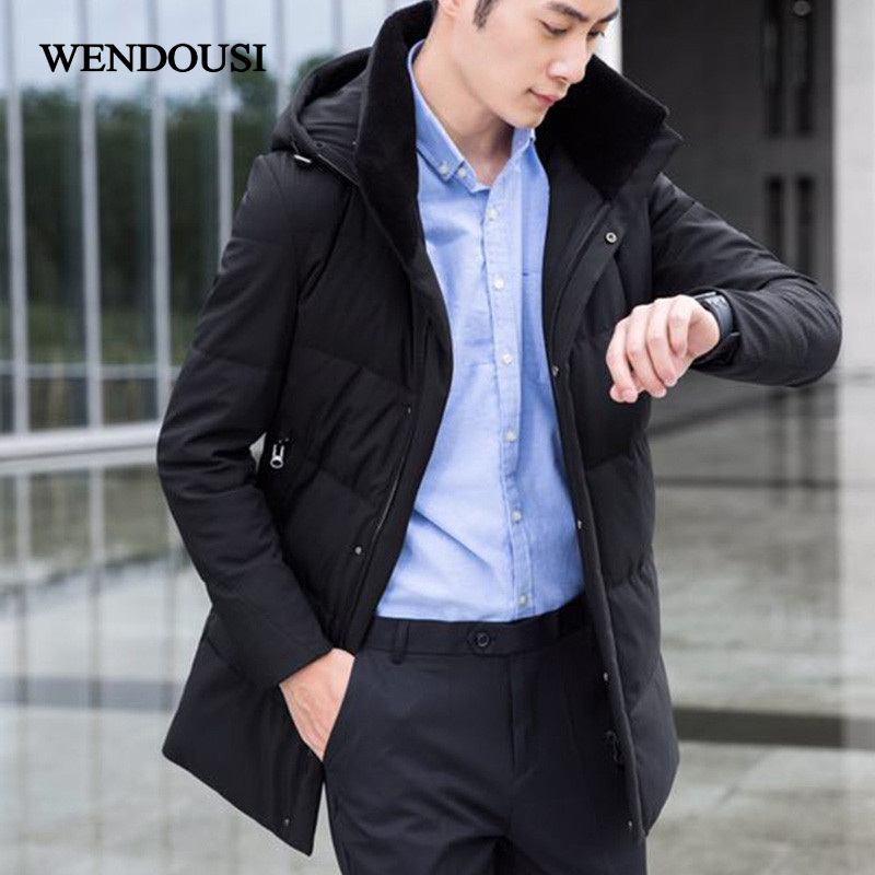 WENDOUSI High Quality Men Fashion Long White Duck Down Jacket Winter Casual Down Coat Parka Hooded Male Coats Outerwear HS2777