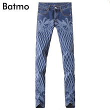 2017 new arrival high quality classic elastic casual skinny plaid printed jeans men ,men's casual blue jeans ,size 28 to 36