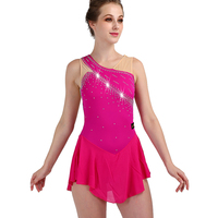 Figure Skating Dress Women Rose Red Sleeveless Rhinestone Elasticity Girls Ice Skate Dress Professional Skating Dancewear ZH8036