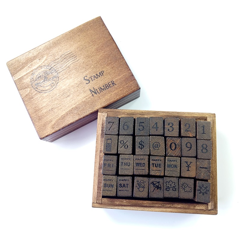 28 Pcs/set Number Weather Week Wood Stamp Set Dairy Stamp Box Hand Writing Stamp Antique Wooden Rubber Stamp With Case