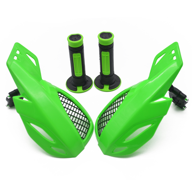 Handguards Hand Guard and rubber handle bar grip For Kawasaki KX65 KX85 KX125 KX250 KX500 KX250F KX450F KLX450R  Motocross dirt