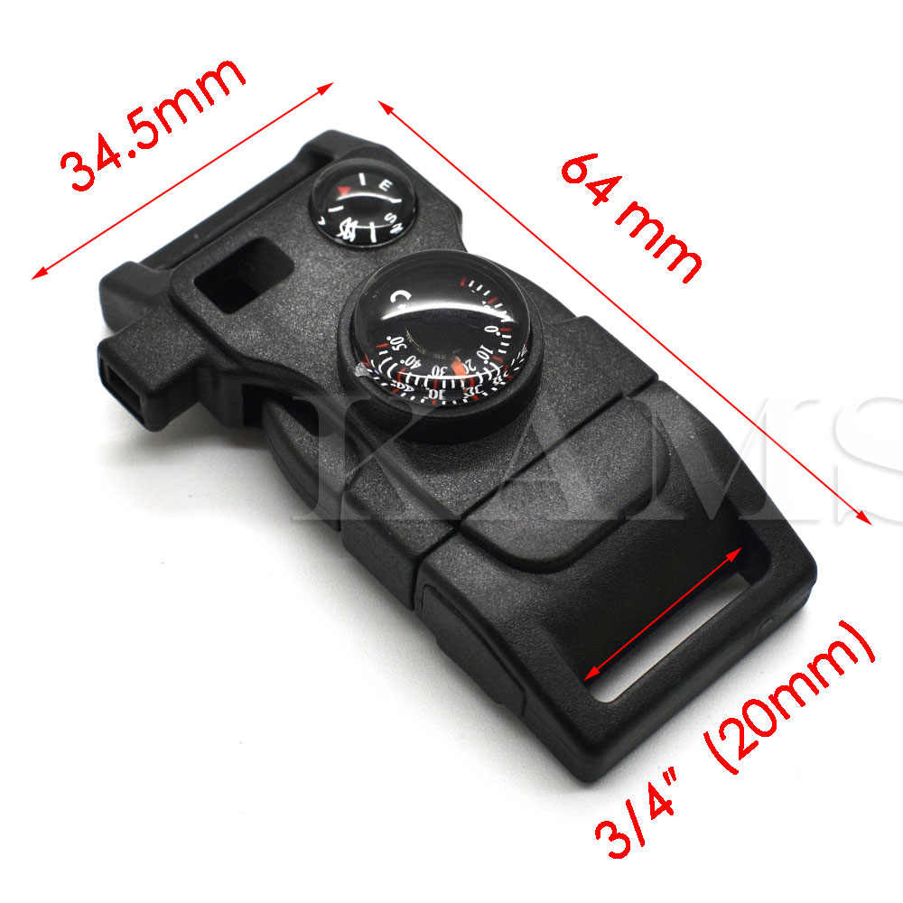 1pcs 15 in1 Outdoor Survival Kits Compass Thermometer Whistle Buckle Black