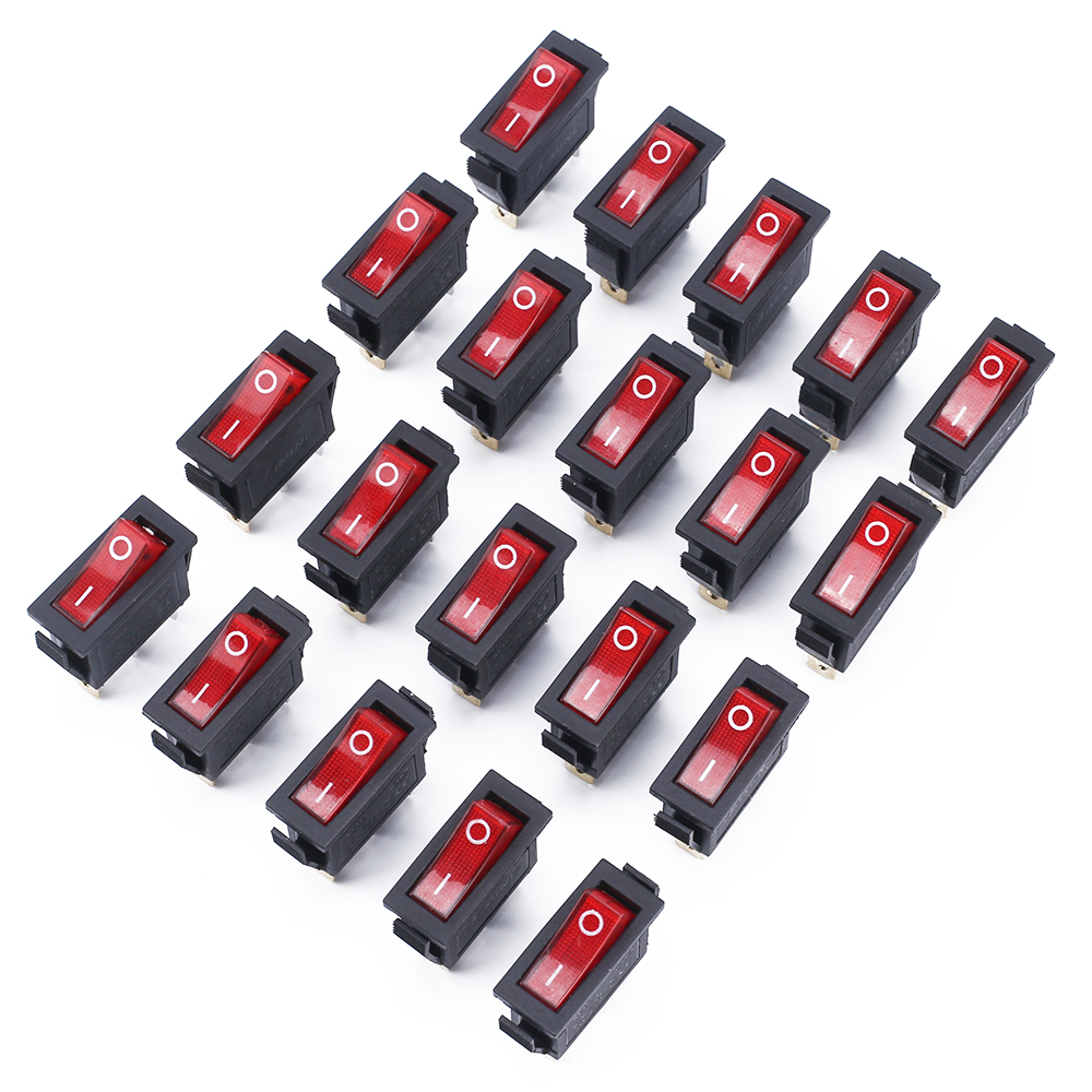 ELECALL 20Pcs/Lot KCD3 16A 250V/20A 125V 3 Pin Red Button Light Rocker Switch Rocker Power Switch 250v 20a 3 pin terminals temperature control switch capillary thermostat part