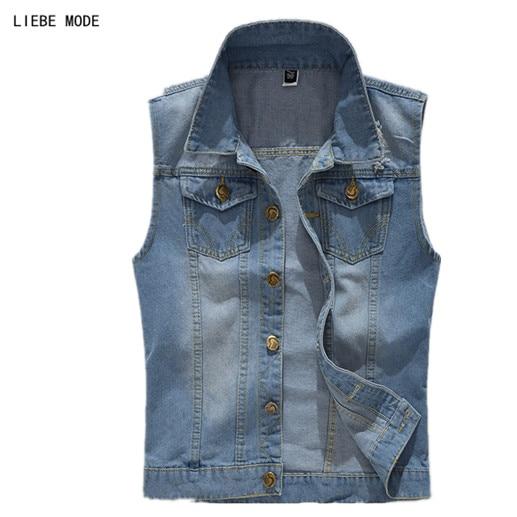 Plus Size Denim Vests For Men Slim Fit Sleeveless Jacket Coat Jeans Vest Male Blue Cowboy Waistcoat Pockets 3XL 4XL 5XL