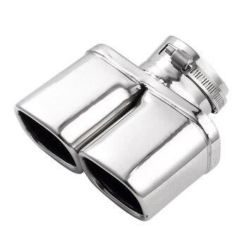 Acero inoxidable doble silenciador tubo de escape curvo silenciadores de escape de coche extremo Punta de accesorios de tubería coche 1 piezas