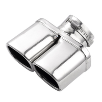 Stainless Steel Dual Muffler Exhaust Pipe Curved Car Exhaust Mufflers End Pipe Tip Car Accessories 1 Pcs