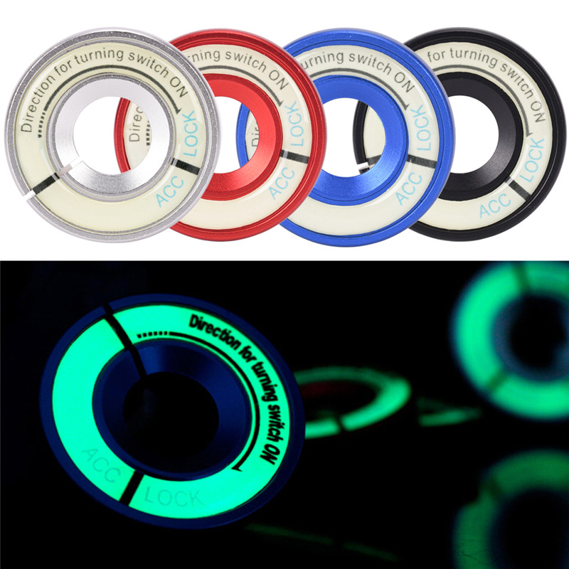 Car Styling Circle Light Key Ring  Luminous Car Ignition Key Ring Coil Sticker Switch Cover 1pc