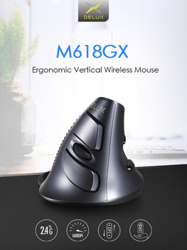 10PCS wholesale M618 GX Ergonomic Vertical Wireless Mouse 6 Buttons 1600DPI Optical Mice Support 3 Colors Silicon Rubber Case