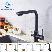 Retail Oil Rubbed Bronze Deck Mounted Single Hole Two Handles Kitchen Mixer Faucet