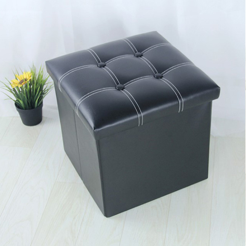 Us 43 97 Free Shipping Pu Square Stool With Storage E Living Room Ottoman Kids Toy Box Foldable Bookcase Footrest Furniture In Stools