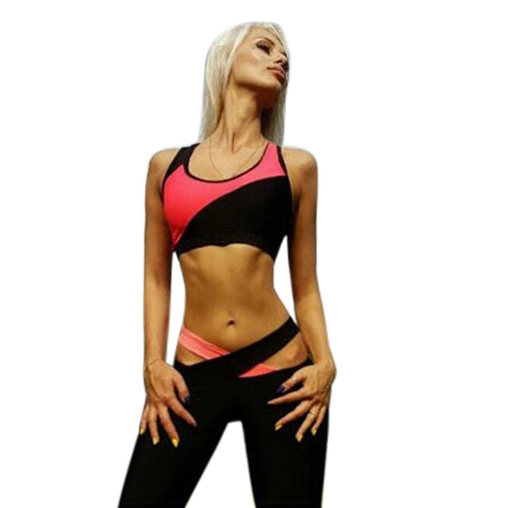 2pcs set Summer Women Clothing Set Black Pink Stitching Vest Plus Ankle Length Pants Female Fitness