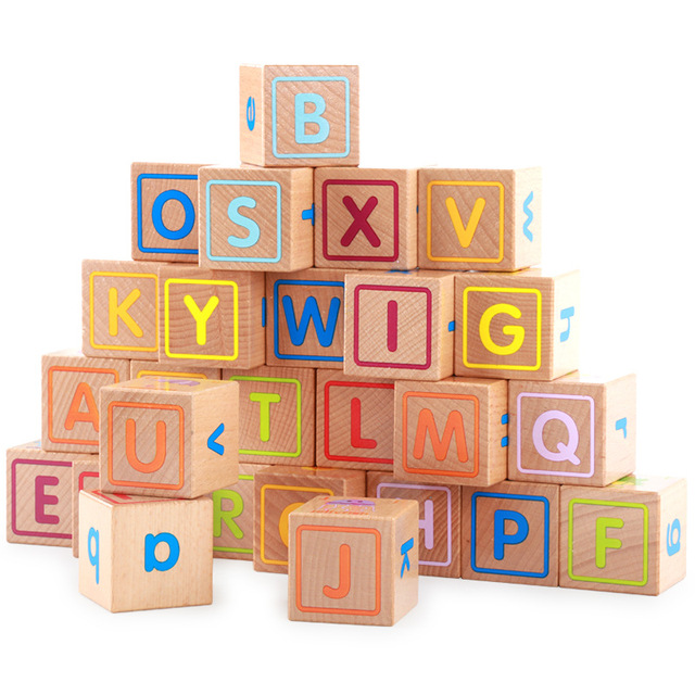 Childrens Intelligence Early Education Wooden Blocks Toys Abc