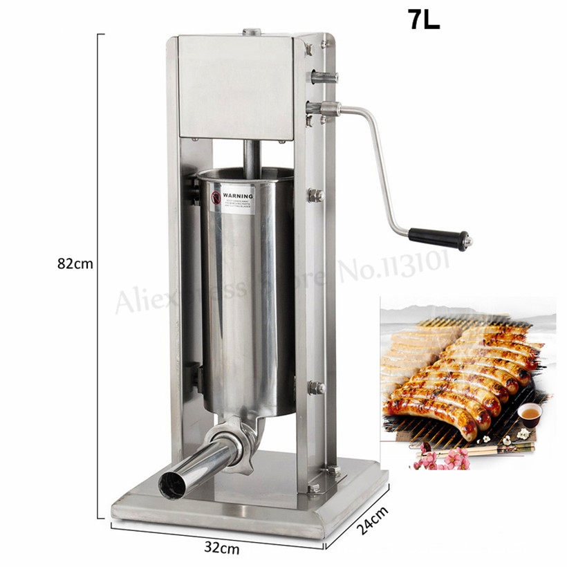 Commercail 7L Manual Sausage Stuffer Meat Filler Restaurants Vertical Stainless Steel Churros Machine Churro Extruder