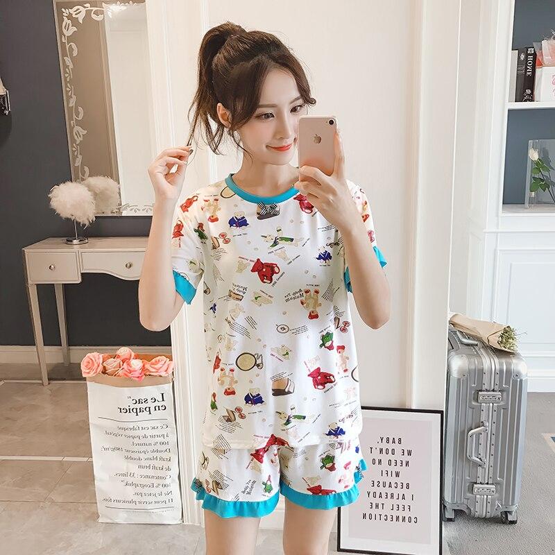 2019 Girls Pijamas Mujer Summer Comfortable Women   Pajamas     Sets   Short Sleeve Thin Cotton Home Wear Serve Lovely Sleepwear
