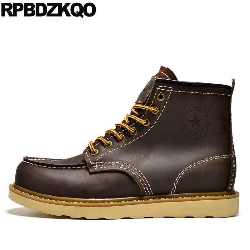 Working Booties Lace Up Casual Work Ankle Vintage Plus Size Shoes Short Mens Winter Boots Warm Fall Waterproof Brown Fur Safety