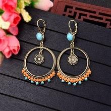 TopHanqi индийские ювелирные изделия большие круглые висячие серьги дизайн богемные разноцветные бусины из смолы серьги для женщин
