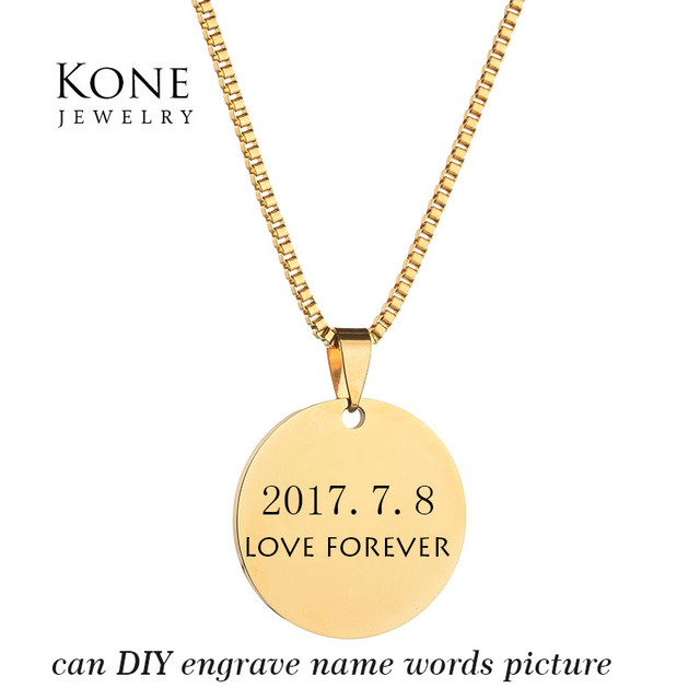 Custom jewelry personality engrave monogram name photo necklace custom jewelry personality engrave monogram name photo necklace coin tag stainless steel necklace for women gift aloadofball Image collections