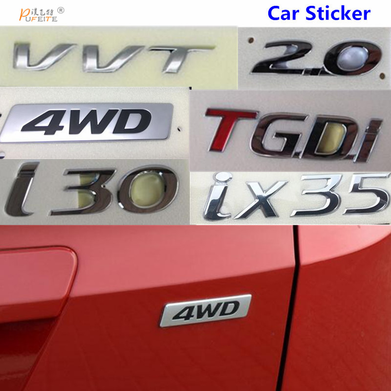 For Hyundai Elantra Tucson i30 IX25 IX35 For SONATA VERNA SANTAFE VVT TGDI Logo Rear Trunk Tailgate emblem car sticker