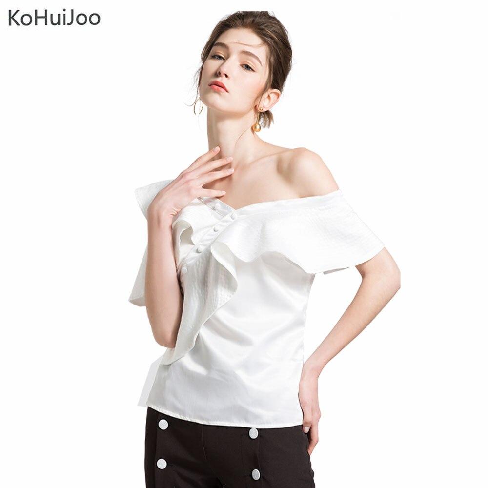 KoHuiJoo 2018 White Blue Summer Ruffles Blouses Women Slim Off Shoulder Shirts Lady Sexy V Neck Short Sleeve Tops Female
