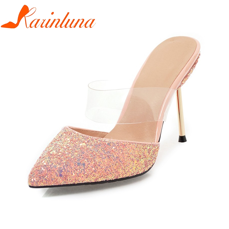 KARINLUNA 2018 Sequined Cloth Plus Size 32-43 Slip On Thin High Heels Women Pumps Pointed Toe Mules Pumps Shoes