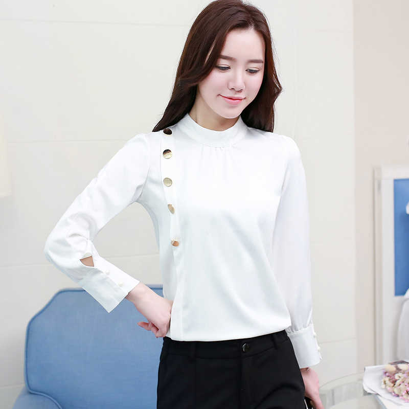 c95ea957da4 ... 2019 Spring Korean Style Chiffon Blouse Female Long Sleeved Tops Shirt  Femininas Formal Ladies Tops Office ...