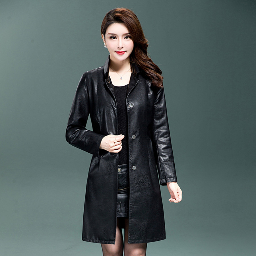 2018 Spring New Women Long   Leather   Jacket With Belt Ladies Slim PU   Leather   Jackets Coat Trench Female Outwear Clothing M-3XL