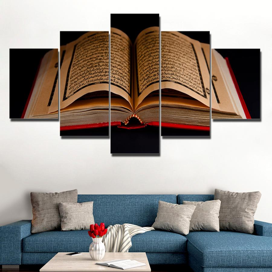Canvas Pictures Wall Art 5 Pieces Koran Islamic Scriptures Paintings HD Prints Holybook Quran Poster Living Room Decor Unframed in Painting Calligraphy from Home Garden