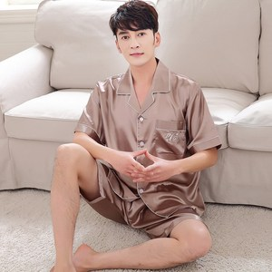 Image 5 - BZEL 2019 Summer New Fashion Matching Couple Pajama Sets Imitated Silk Fabric Pyjama Suit Nightwear Lovers Lingerie Tops+Shorts